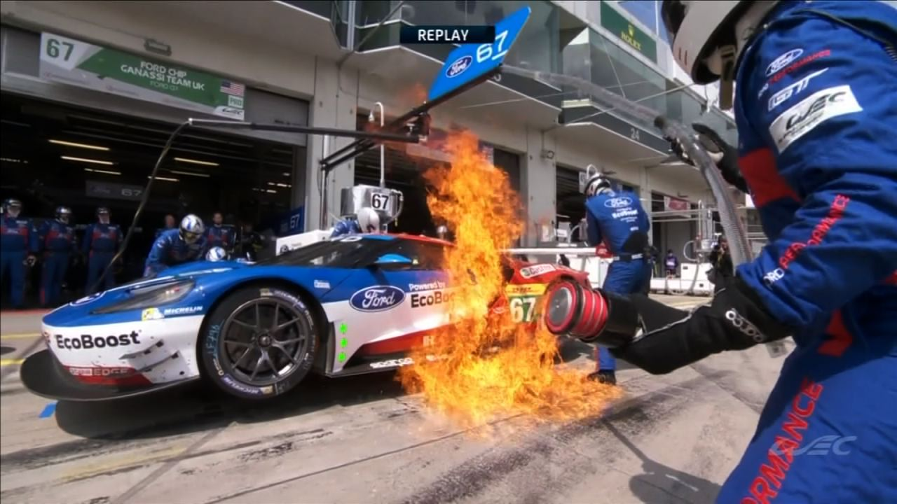 Ford Gt Pit Fire   Hours Of Nurburgring