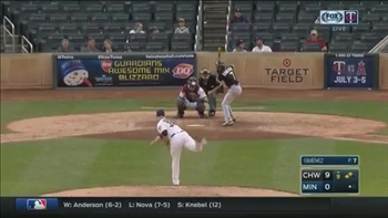 WATCH: Twins catcher Gimenez pitches scoreless inning in 6th appearance