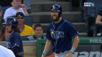 Steven Souza Jr. shakes off a hit by pitch with a smile