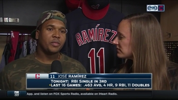 Jose Ramirez reacts to crucial stop that prevented Texas from scoring