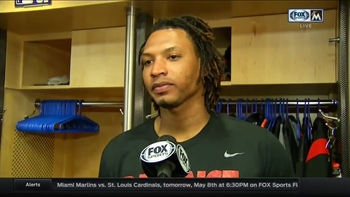 Jose Urena reacts on his strong outing against the Mets